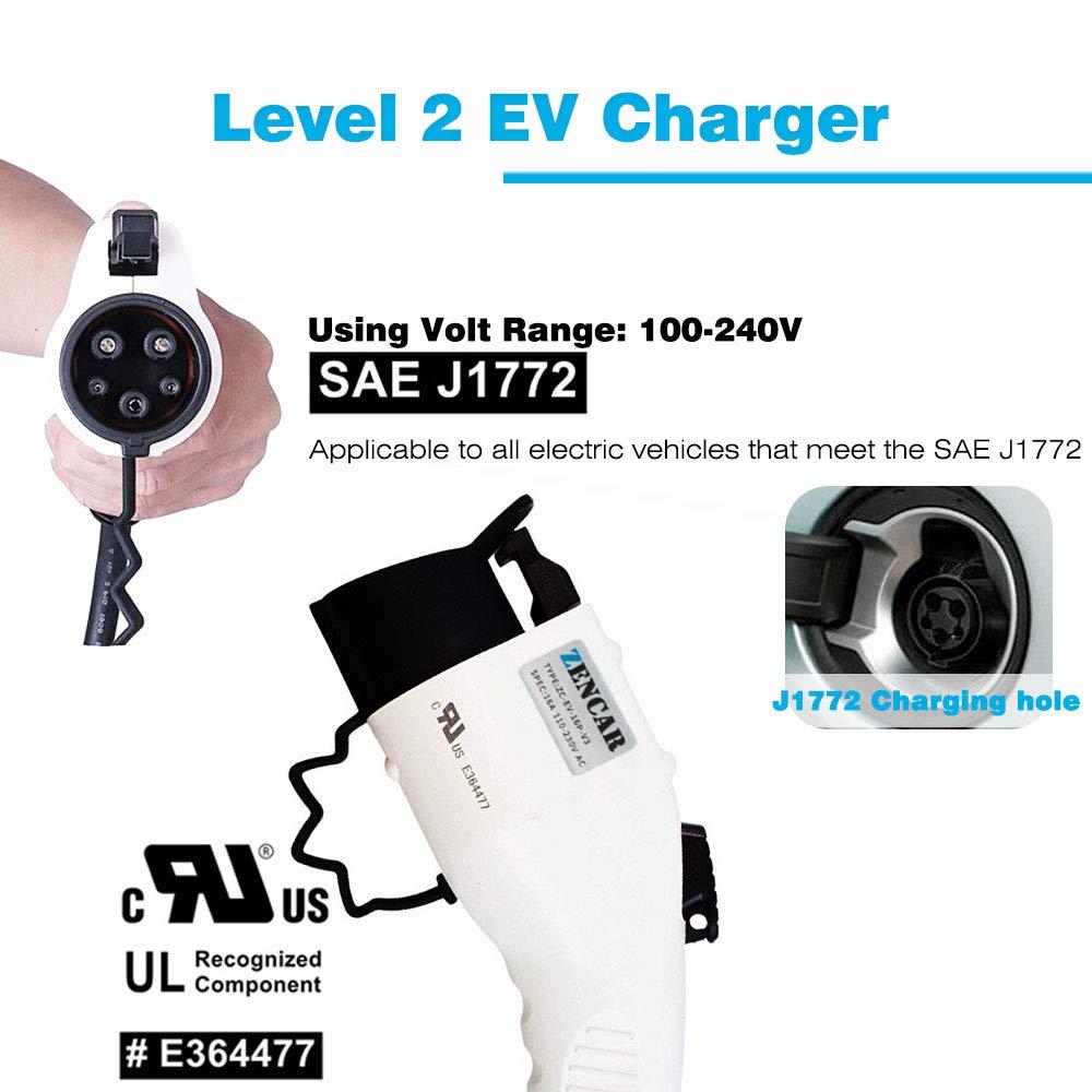 Portable EVSE Home Electric Vehicle Charging Station Compatible with Chevy Volt Nissan Leaf NEMA 14-50 Plug Zencar Level 2 EV Charger Fiat 240V, 16A, 25ft Ford Fusion