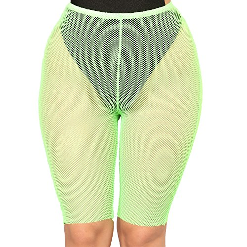 (FULA-bao Women Sexy Perspective Mesh Sheer Swim Shorts Pants Bikini Bottom Cover up (Yellow 2,)