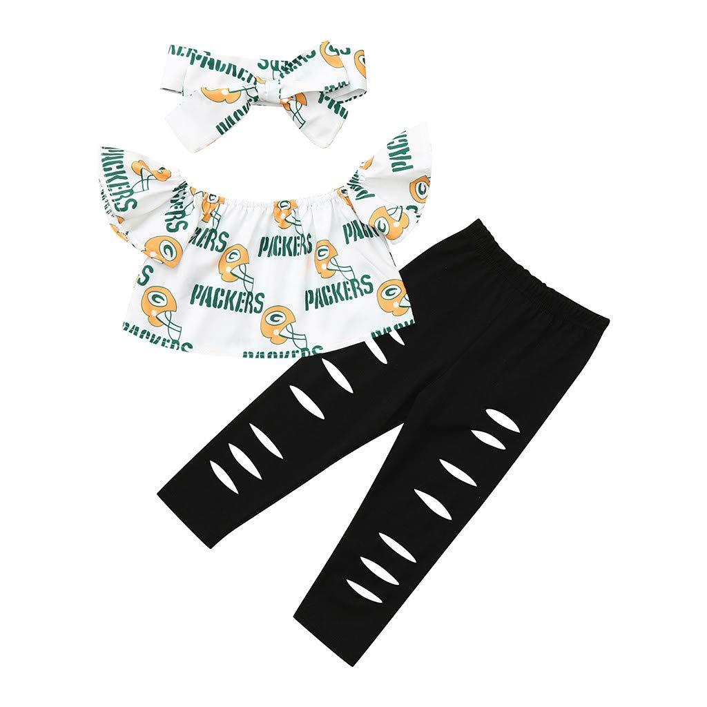 AMUSTER Vestito Ragazza T-Shirt Pantaloni del Foro Superiore della Lettera del Fumetto Senza Spalline del Bambino del Bambino