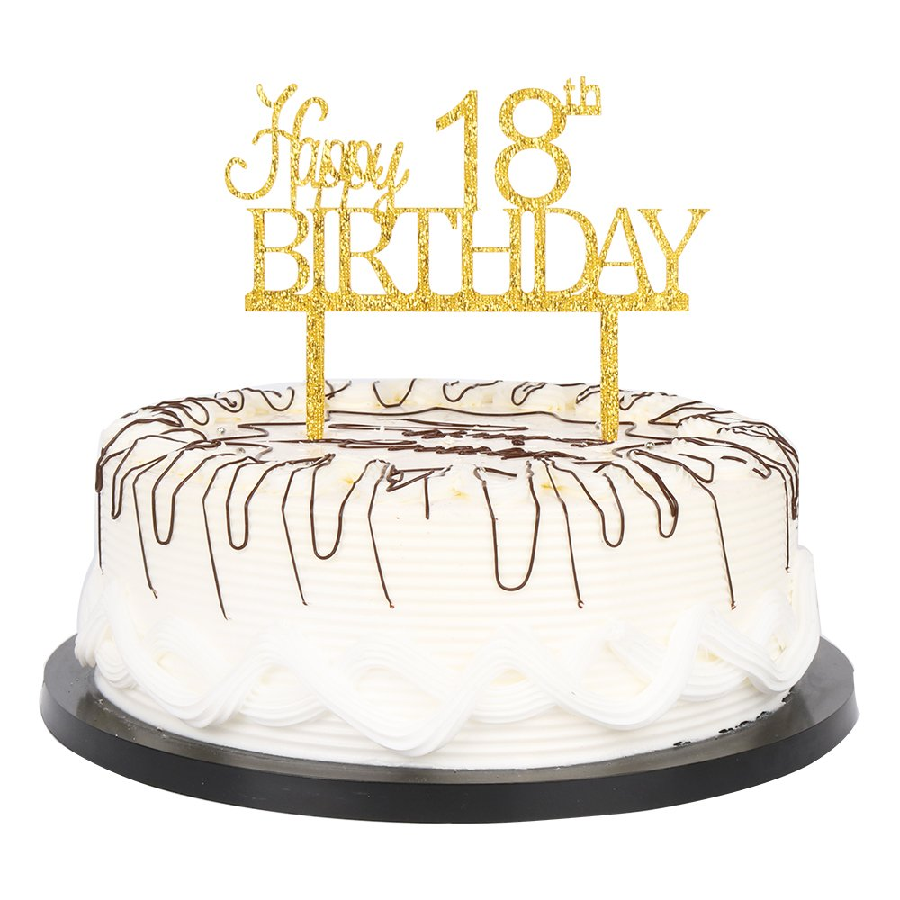 YUINYO Happy 18th Birthday Cake Topper Gold Party Decoration Supplies Calligraphy Bling