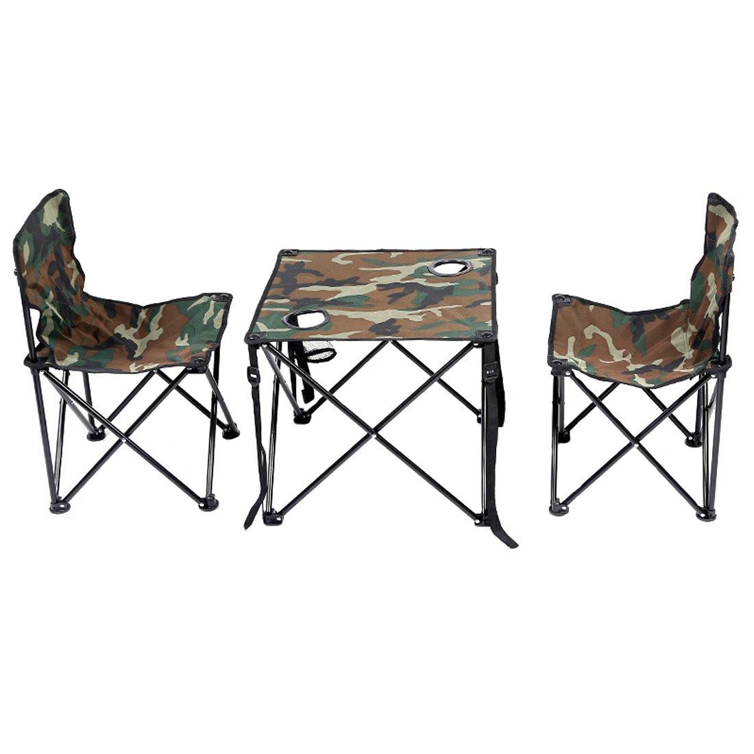 Cool&D 5-teiliges Set Klappstuhl Tisch klappbare Stuhl Tisch Faltstuhl für Outdoor Angeln und Camping