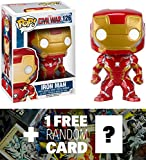 Iron Man: Funko POP! x Captain America Civil War Bobble-Head Figure + 1 FREE Official Marvel Trading Card Bundle [72247]