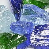 (River Mix) Blue Landscape Glass – American Specialty Glass – Fireplace Glass, Landscaping Glass – 50 lbs, Medium For Sale