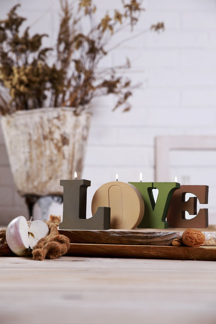 4 Piece 5902841367333 Candellana Candles Love Candle-4 Letters II