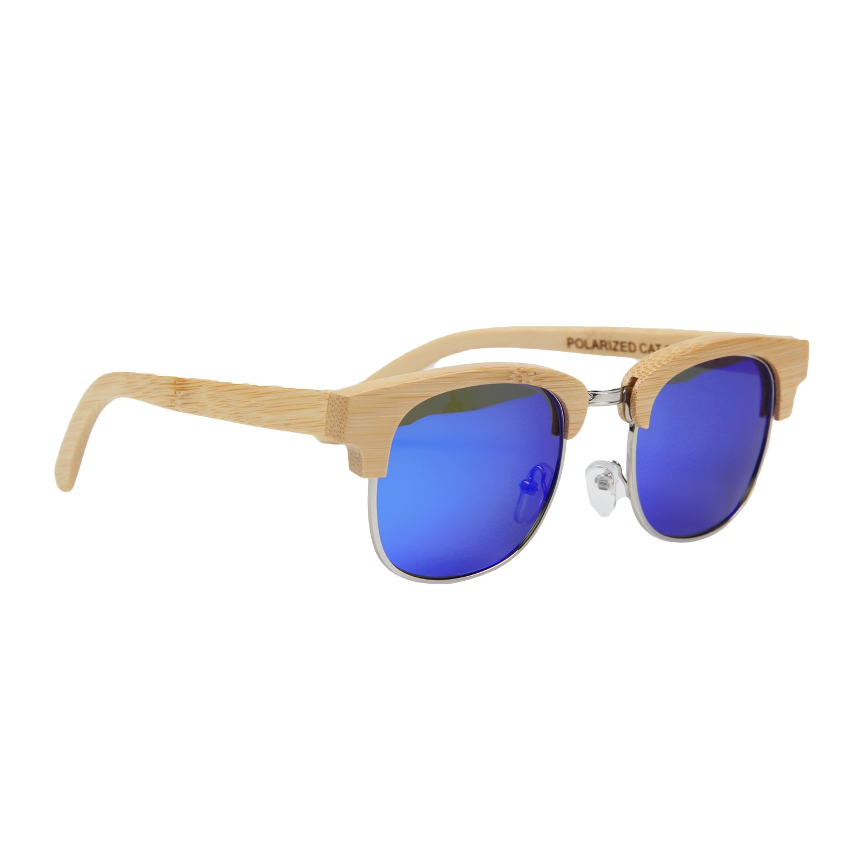 Ynport Crefreak Bamboo occhiali da sole galleggiante mano mezzo telaio in legno leggero Eyewear Wayfarer in vetro con regalo scatola di bambù, donna, Blue