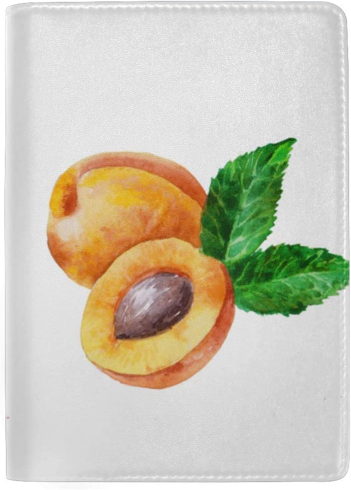 Apricot Fresh Fruits Blocking Print Passport Holder Cover Case Travel Luggage Passport Wallet Card Holder Made With Leather For Men Women Kids Family