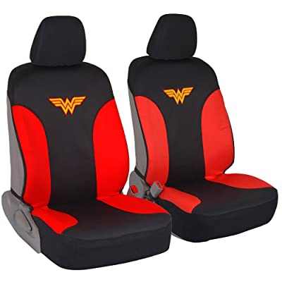 DC Comics Wonder Woman Car Seat Covers - 100% Waterproof Front Pair Gray Black Fit Cover - Side Airbag Safe Protection for Car SUV Van Truck: Automotive