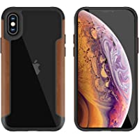 For Apple iPhone X Back case Tempered PU cover with Rubber leather Frame - Brown & Clear
