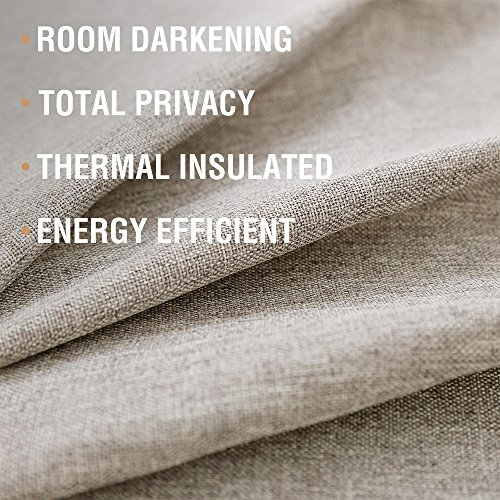 Tie-up Valances for Windows Linen Textured Room Darkening Adjustable Tie Up Shade Window Curtain Rod Pocket Tie-up Valance Curtains 18 Inches Long (1 Panel, Greyish Beige) by jinchan (Image #3)'