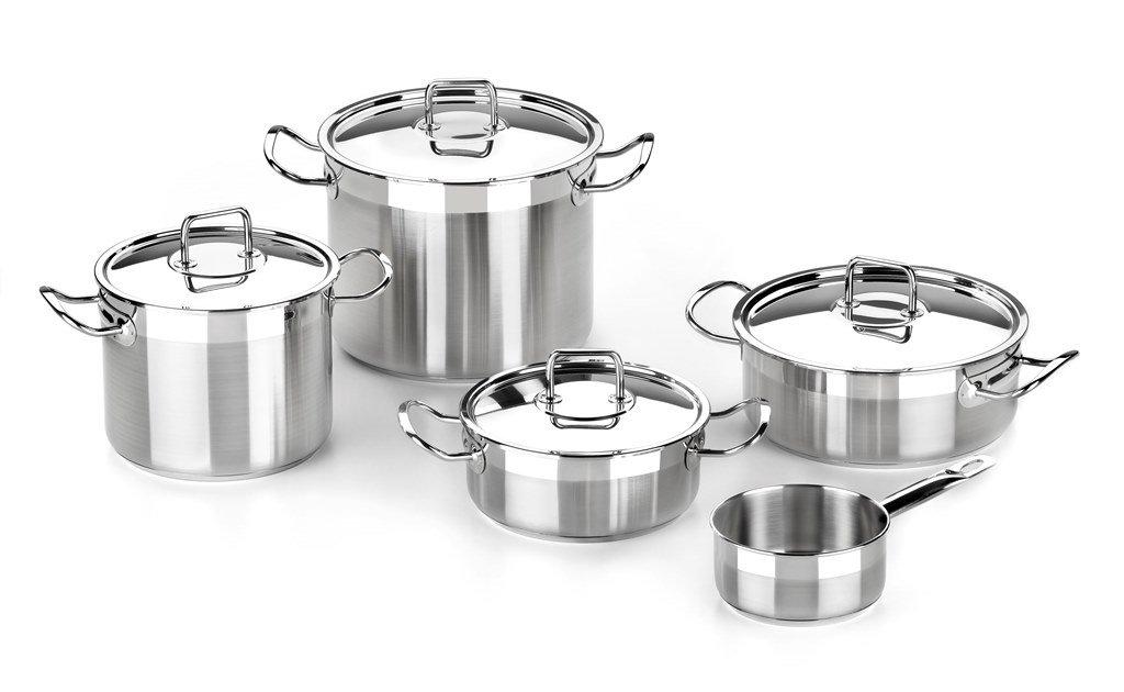 BRA Profesional - Menaje de 5 Piezas, Acero Inoxidable 18/10, Apta para Todo Tipo de cocinas incluídas de inducción, 20-24-14 cm: Amazon.es: Hogar