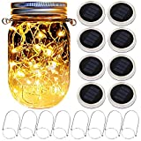 Mason Jar Solar Lantern Lights, 8 Pack 20 Leds Fairy Star Firefly...