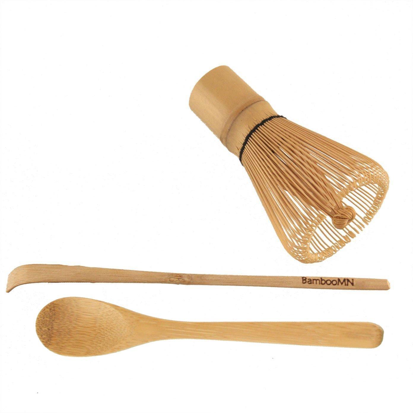 BambooMN Matcha Whisk Set - Golden Chasen (Tea Whisk), Chashaku (Hooked Bamboo Scoop), Tea Spoon - 10 Sets by BambooMN