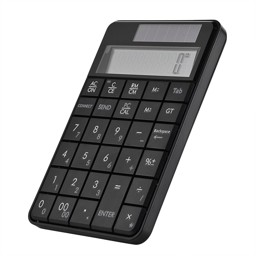 fosa Portable 2-in-1 Wireless Smart Solar Power Keypad & Calculator Combo Mini 2.4G USB 29 Keys Numeric Keyboard & Calculator with LCD Display for Laptop PC Windows