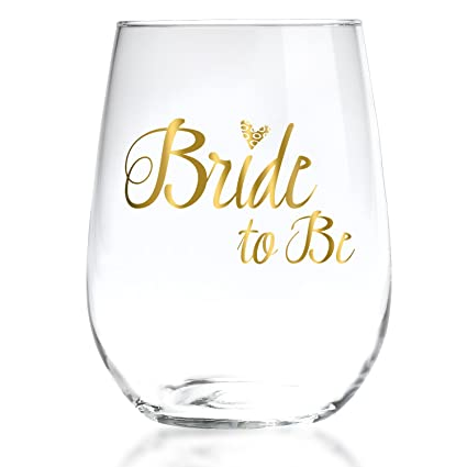 bride to be stemless wine glass with 22k liquid gold lettering elegant gift for engagement
