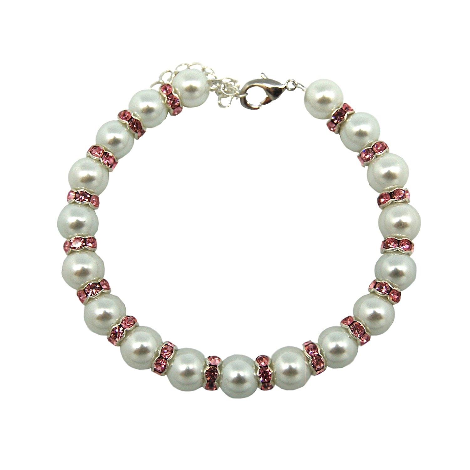 Anima White Glass Pearl with Pink Rhinestone Rings Pet Necklace, 8-10