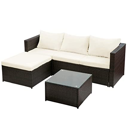 Amazon Com Simply Me 3 Pieces Rattan Patio Furniture Sectional