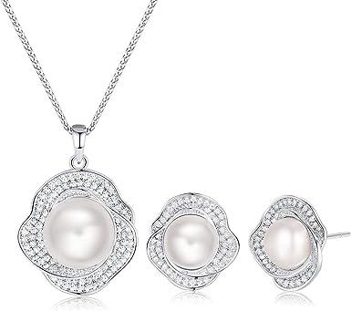 Silver jewelry set Silver drop earrings Pearl earrings Silver pendant Pearl pendant Silver jewellery Gift womenSterling silver Gift