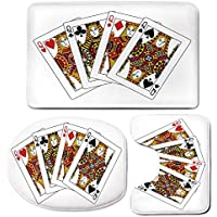 3 Piece Bath Mat Rug Set,Queen,Bathroom Non-Slip Floor Mat,Queens-Poker-Set-Faces-Hearts-and-Spades-Gambling-Theme-Symbols-Playing-Cards,Pedestal Rug + Lid Toilet Cover + Bath Mat,Black-Red-Yellow