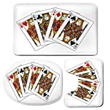 3 Piece Bath Mat Rug Set,Queen,Bathroom Non-Slip Floor Mat,Queens-Poker-Set-Faces-Hearts-and-Spades-Gambling-Theme-Symbols-Playing-Cards,Pedestal Rug + Lid Toilet Cover + Bath Mat,Black-Red-Yellow