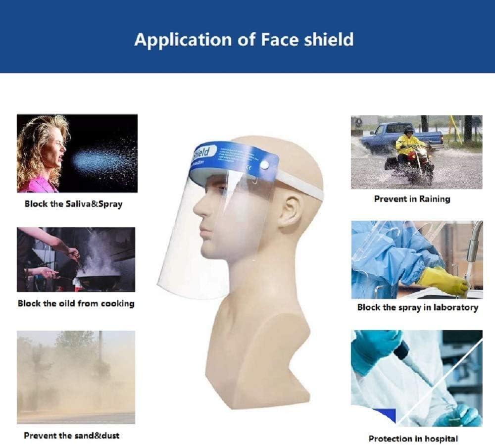 LAMBO 10 unidades por paquete de protectores faciales desechables de seguridad,protecci/ón completa,visera resistente a las salpicaduras,lente antivaho ligera y ajustable,transparente