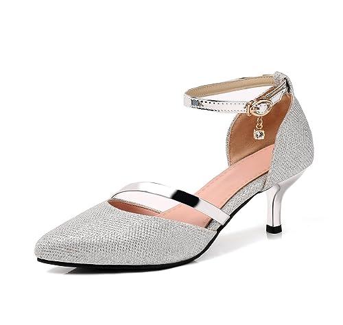 b1143f5a04b OALEEN Escarpins Sexy Femme Petit Talon Bout Pointu Bride Cheville Chaussures  Soirée Mariage Argenté 33 ...