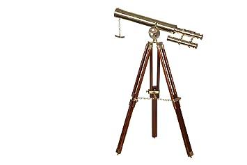 Dekoratives großes nautisches messing holz teleskop 11112 mit stativ