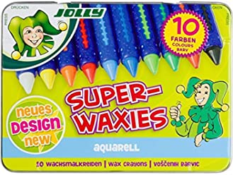 27a591dd Jolly Superwaxies Watercolor Crayons Tin Box of 10 by Jolly