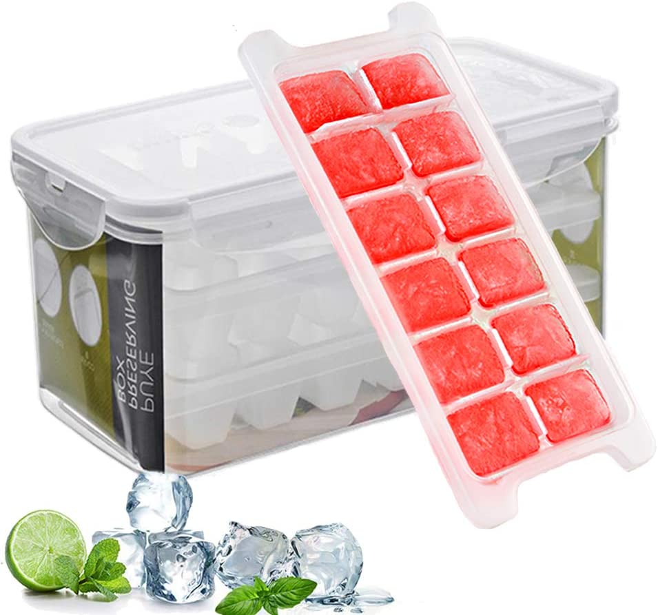 Ice Cube Trays and Ice Cube Storage Container Set With Airtight Locking Lid, 3 Packs / 36 Big Trapezoid Ice Cubes