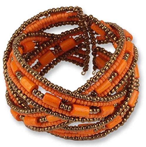 Shineland Colorful Chain Open Design Acrylic Beads Bohemian Beaded Bracelet Women Jewelry Multilayer Bangle (Orange)
