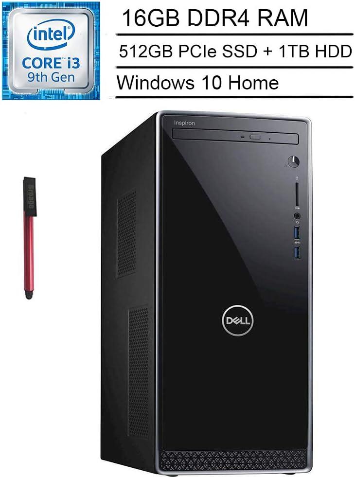 Dell Inspiron 3671 Desktop Computer_ Intel Quad-Core i3-9100 up to 4.2GHz_ 16GB DDR4 RAM_ 512GB PCIe SSD + 1TB HDD_ WiFi_ Bluetooth 4.0_ VGA_ HDMI_ Black_ Windows 10 Home_ BROAGE 64GB Flash Stylus