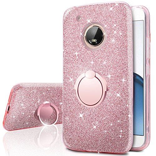 Moto G5 Case, Motorola Moto G5 Glitter Case, Silverback Girls Bling Glitter Sparkle Case With Ring Stand, Soft TPU Outer Cover + Hard PC Inner Shell Skin for Motorola G 5th Generation -Rose Gold