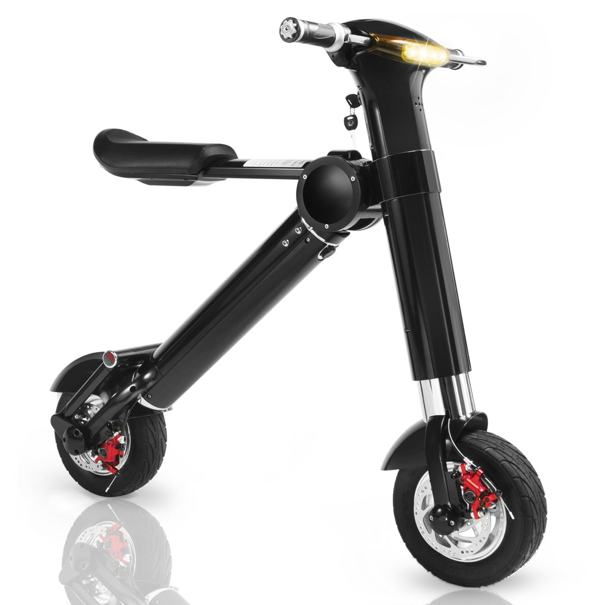 XtremepowerUS 20 MPH Folding Electric Bicycle, Black