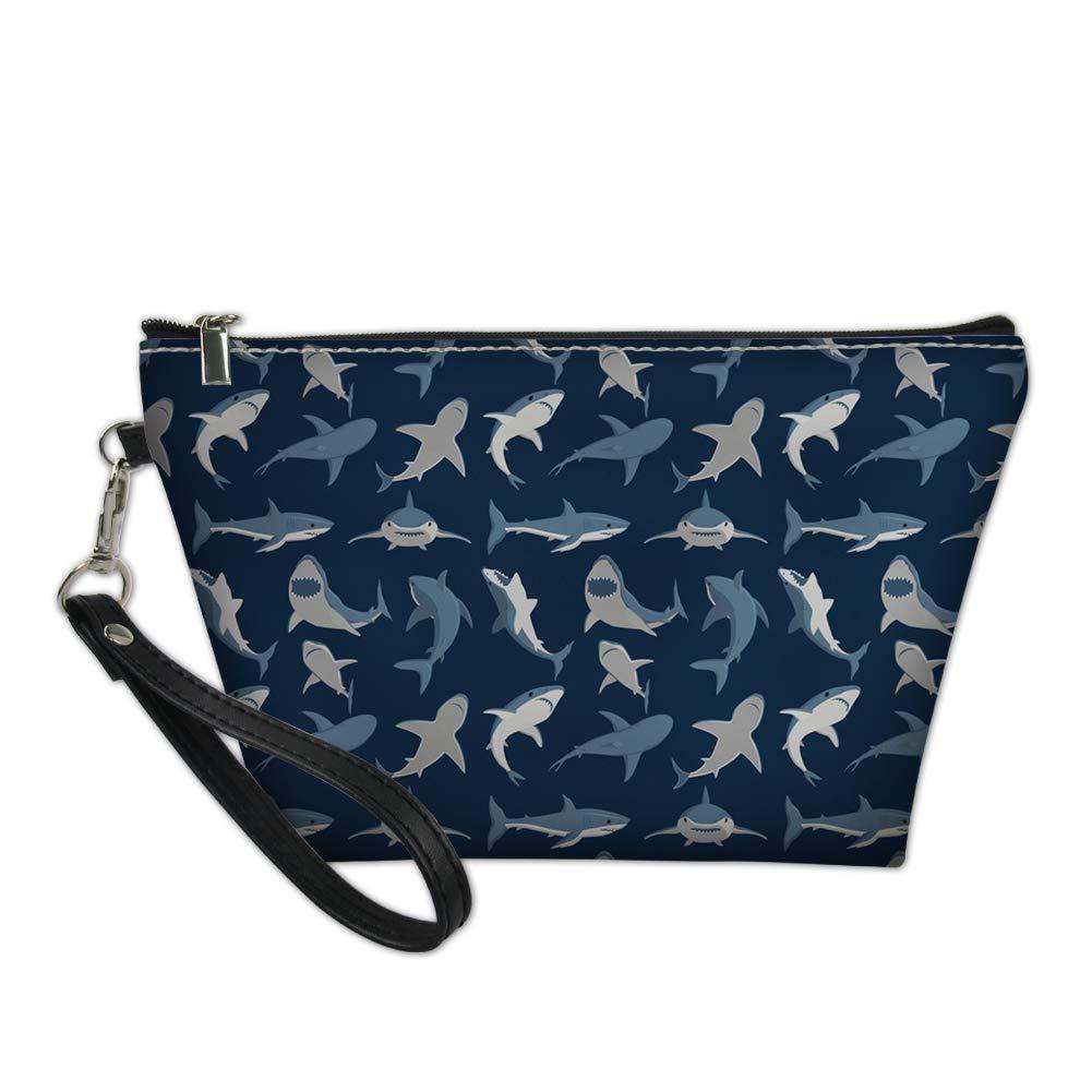 Showudesigns Shark Print Zipper Makeup Bag Small Cosmetic Case Boys Clutch Purse Handbags PU Leather Coin Storage Pouch Pencil for Women Girls