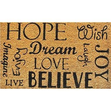 Calloway Mills 120481729 Hope Dream Believe Doormat, 17  x 29 , Natural/Black