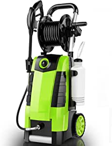 TEANDE 3800PSI Electric Pressure Washer, 1800W 2.8GPM Power Washer with Hose Reel, Spray Gun, Quick Connect Nozzles, 35' Hose (Green)