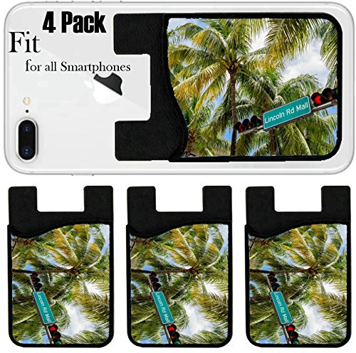 Liili Phone Card holder sleeve/wallet for iPhone Samsung Android and all smartphones with removable microfiber screen cleaner Silicone card Caddy(4 Pack) Lincoln Road Mall street sign located in - Street La Jolla