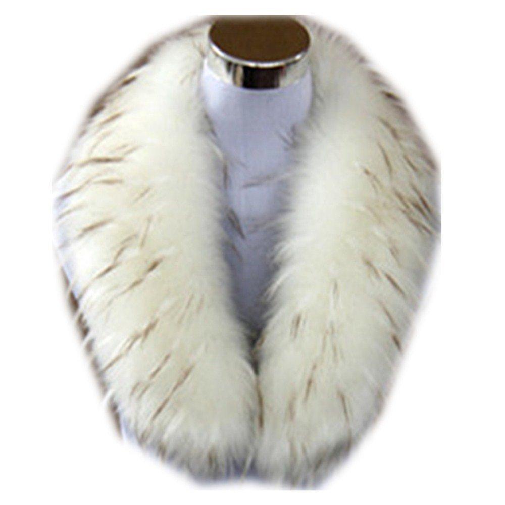 Qmfur Faux Raccoon Fur Collar Women's Neck Warmer Scarf Wrap