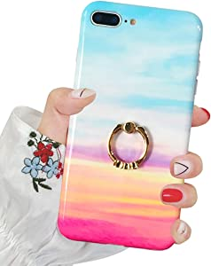 J.west iPhone 8 Plus Case,iPhone 7 Plus Case, Slim Fit Soft Silicone Bumper Protective Shock-Absorption Anti-Scratch Case Back Cover with Stand for iPhone 7/8 Plus 5.5 inch (Cloud)