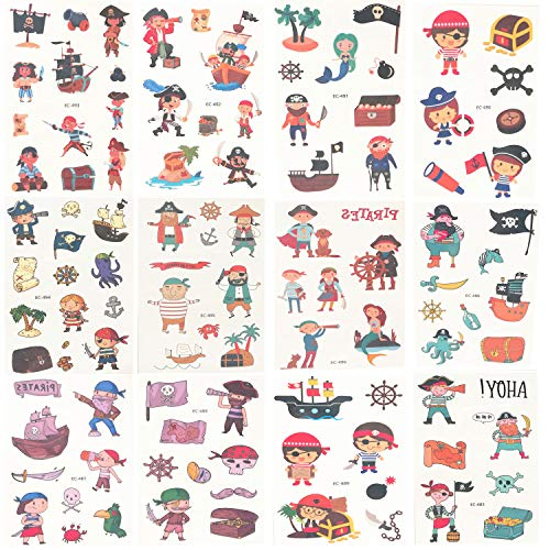 Oexper 12 Sheets of Pirate Temporary Tattoos Pirate Face Tattoo Transfer Paper Sticker for Girls Boys Kids Pirate Themed Party Supplies Party Favors Stocking Stuffers Fun]()