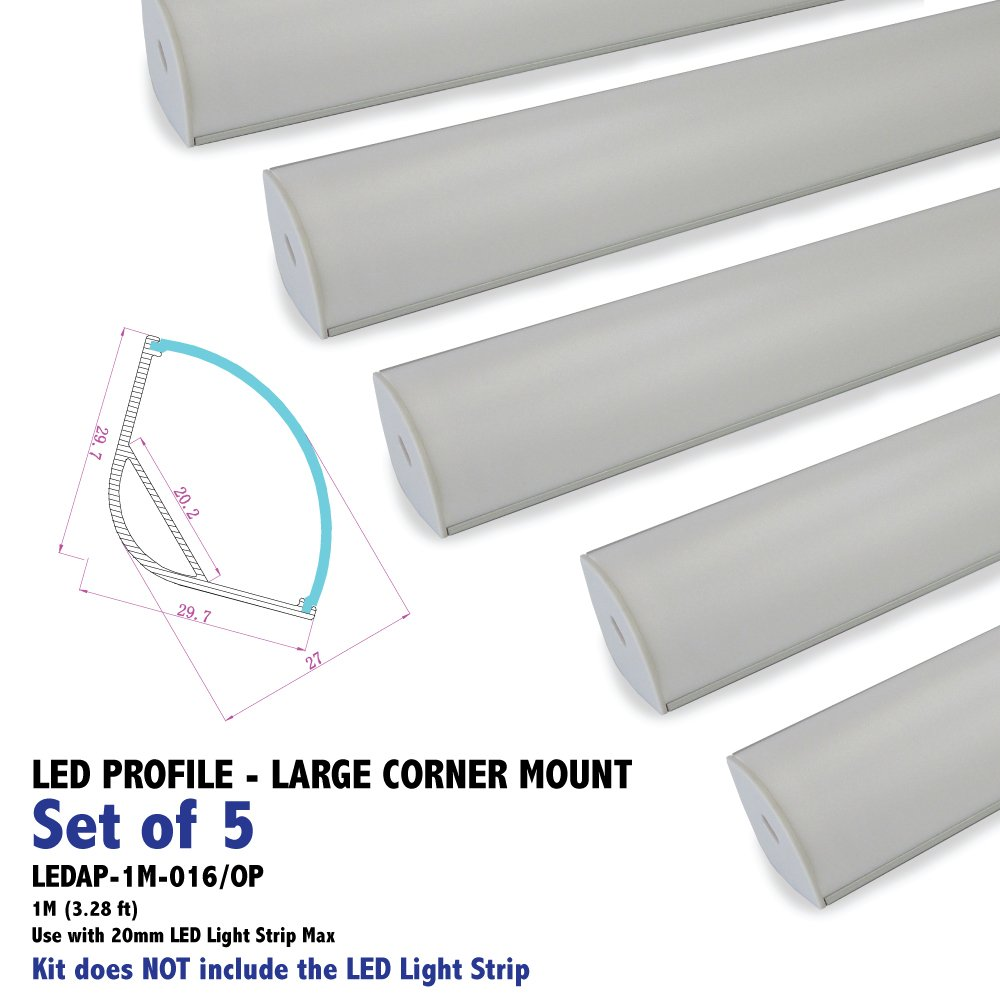SET OF 5 High-Power JUMBO-CORNER Profile - Aluminum Profile with Opal Matte Diffuser for LED Strip Light Applications. 1M (3.28 ft)