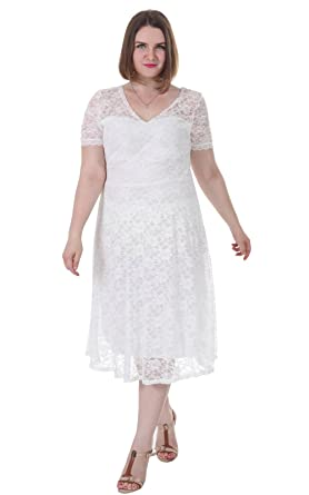 Sapphyra Women Plus Size White Hollow Out Lace Overlay Vintage High ...