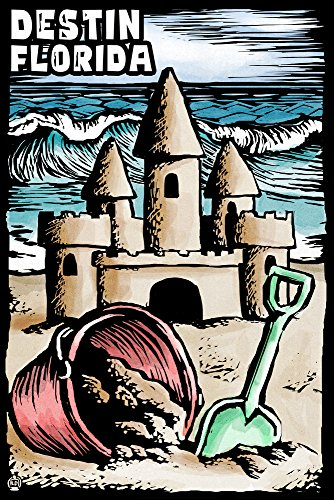 Destin, Florida - Sandcastle - Scratchboard (12x18 Art Print, Wall Decor Travel - Destin Sand