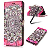 iPhone 6S Case,iPhone 6 Wallet Case,iPhone 6 Cover,Flip Stand Case for iPhone 6 / 6S,SKYMARS iPhone 6S Cover Gloss Fashion Skin 3D Creative Design Book Style PU Leather Flip Kickstand Cards Slot Wallet Magnet Protective Stand Case for iPhone 6 / 6S 4.7 inch Flower Red Totem