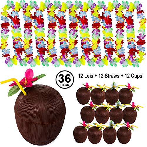 Tigerdoe Luau Party Supplies - Coconut Cups - Flower Leis - Tiki Party - Hawaiian Costume - Hawaiian Party Decorations (36 Pc Coconut Cups, Straws, and Leis) ()