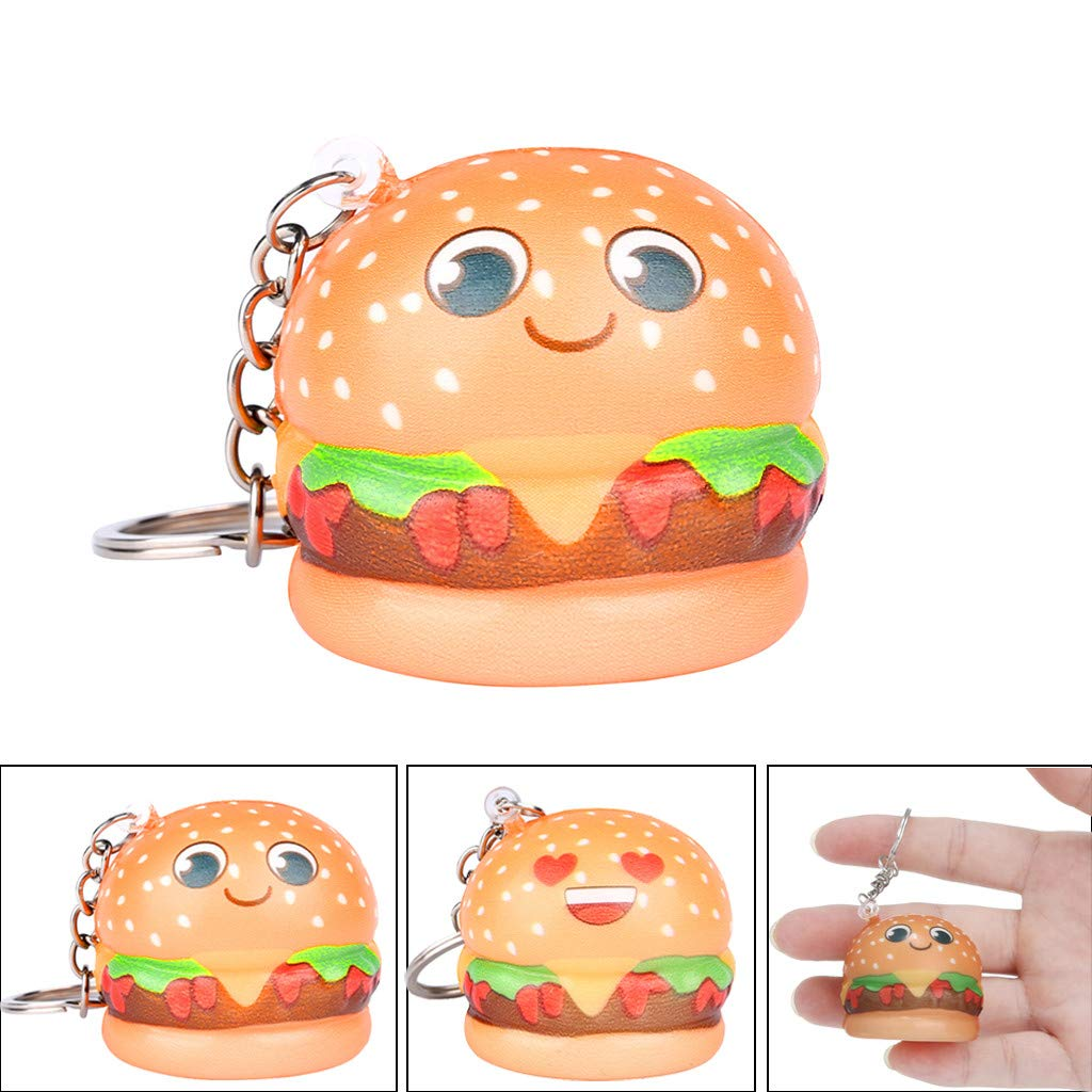 Hongxin--Kawaii Cartoon Hamburger Slow Rising Cream Scented Keychain Stress Relief-You Need to Relax (B)