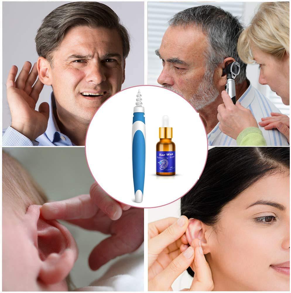 Ohrenschmalz Entferner,Q-Grips Ohrenschmalz Entferner,QGrips Ohrenschmalz-Entferner,Kommt mit Ohren/öl und 1 weichen Silikon-Spiral-Ersatzkopf f/ür jeden geeignet(Blau)