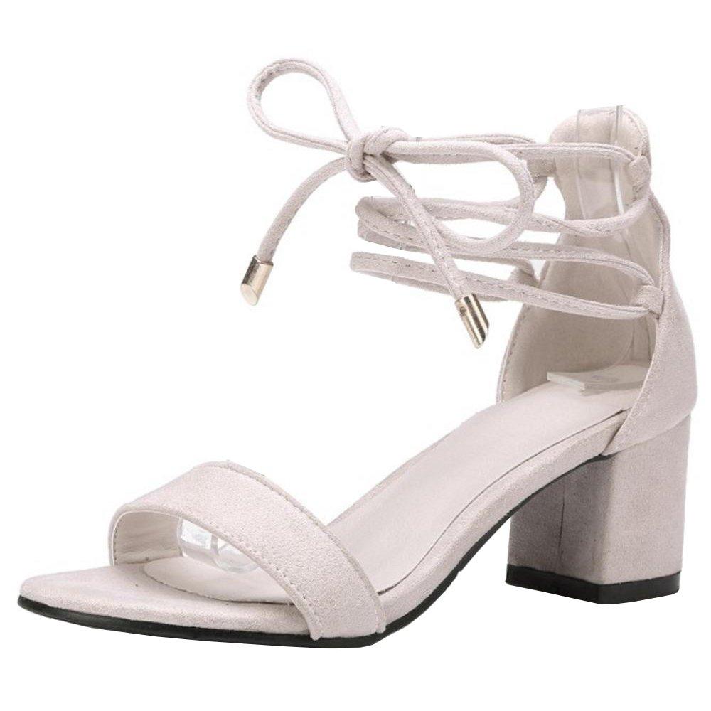 TAOFFEN Damen Schnurung Sandalen Sommer Schuhe Absatz  40 EU|Beige-1