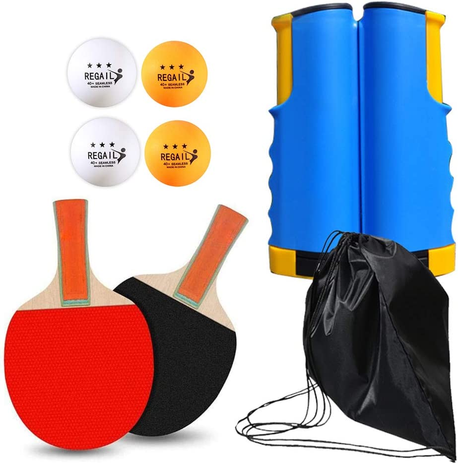 Meowoo Tenis de Mesa Kit, Ping Pong Palas Kit 3 Tenis de Mesa, 2 Raquetas, 1 Bolsa