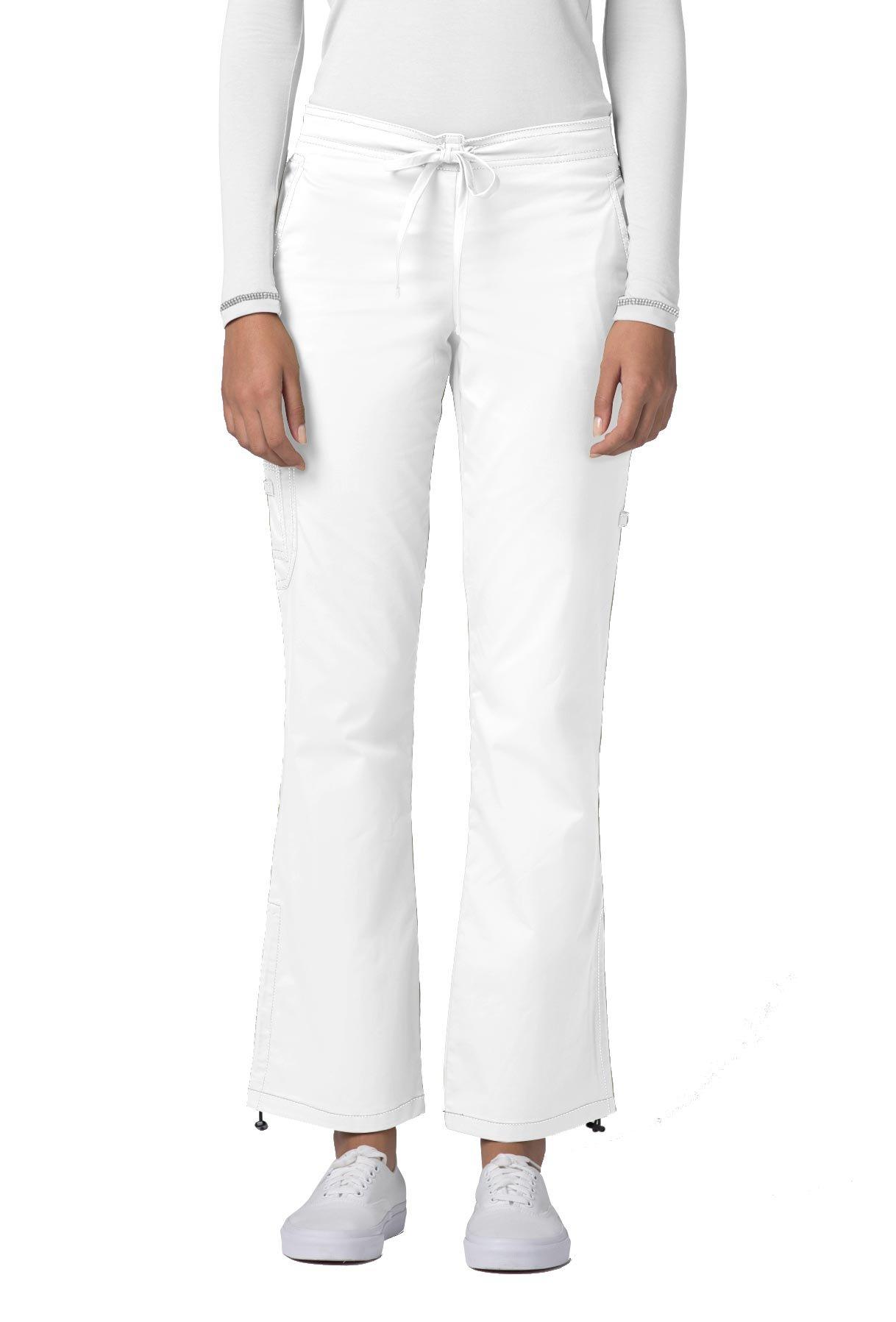 Adar Pop-Stretch Junior Fit Low Rise Boot Cut Bungee Leg Pants - 3102 - White - XL