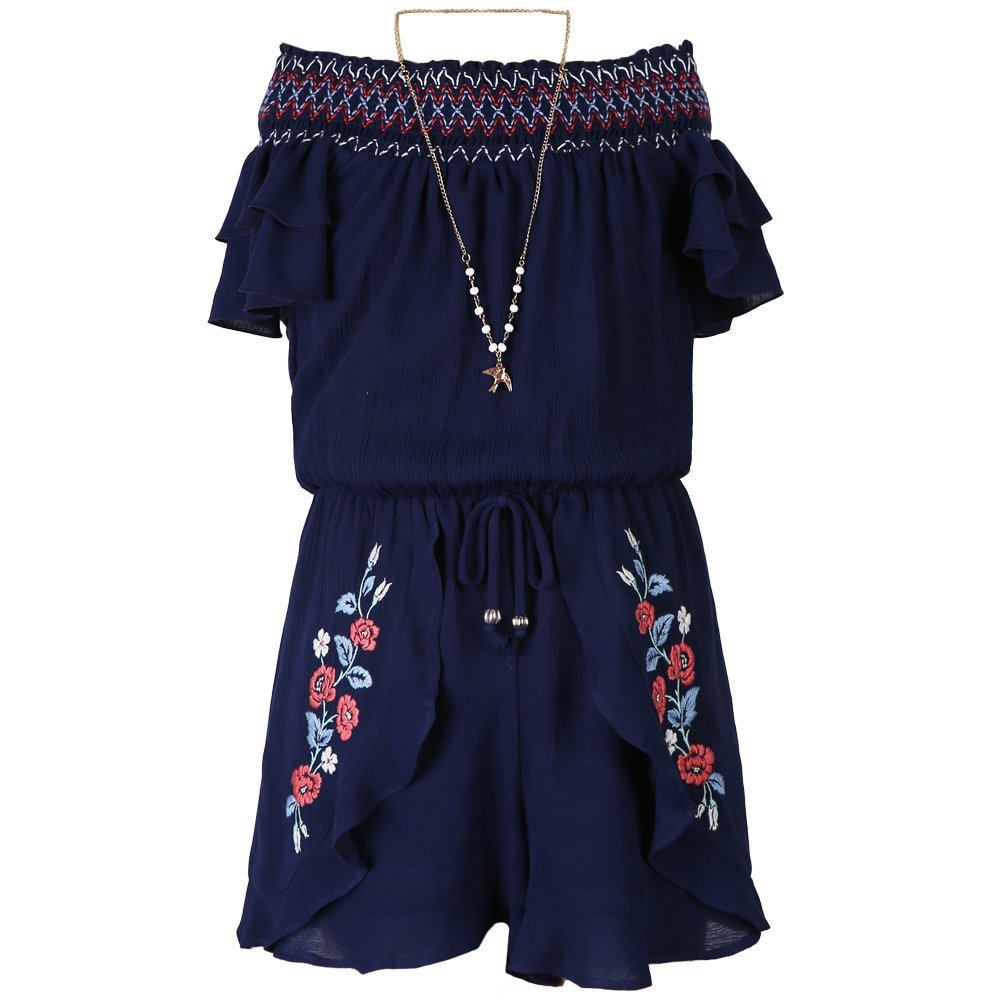 Speechless Big Girls' Smocked Neck Romper, Navy Embroidery, S